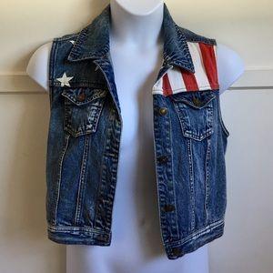 American Flag Denim Vest, Forever 21, Size L